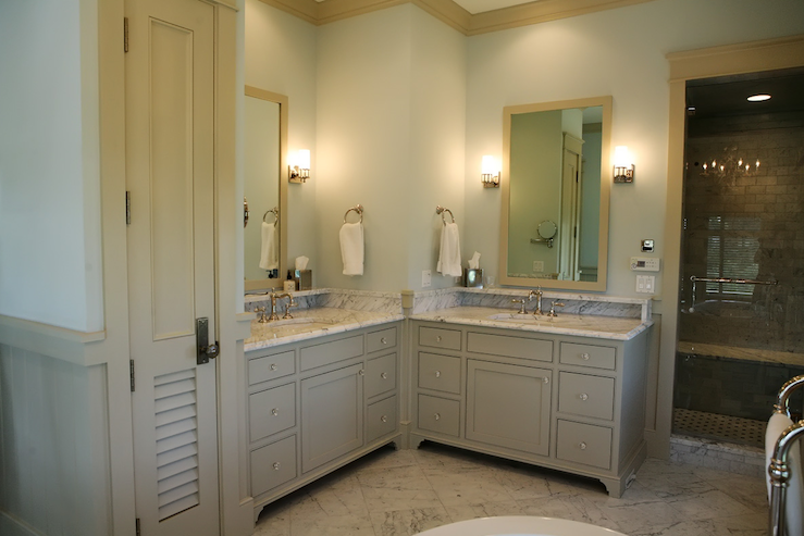 Adjacent vanities cottage bathroom urban grace interiors for Urban bathroom ideas