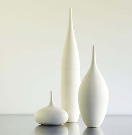 Large white modern ceramic bottle vase trio by sara by for Modern decorative pieces