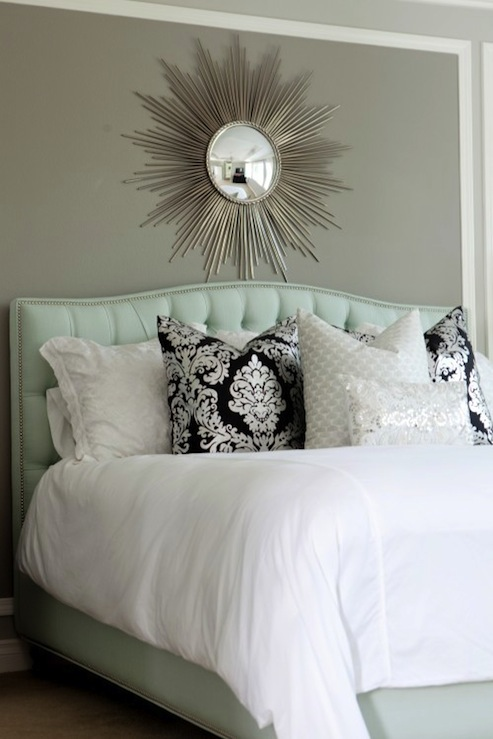 Blue tufted headboard contemporary bedroom sherwin for Wall pillow for bed