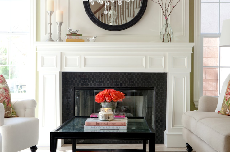 Black Hex Tiles Transitional Living Room Belmont