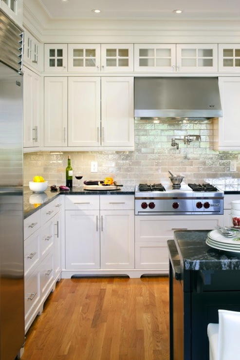 Iridescent backsplash transitional kitchen benjamin for White kitchen cabinets what color backsplash