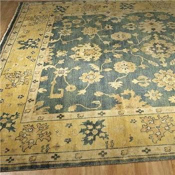 Antique Reproduction Citrine & African Jade Oushak Rug, Shades of Light