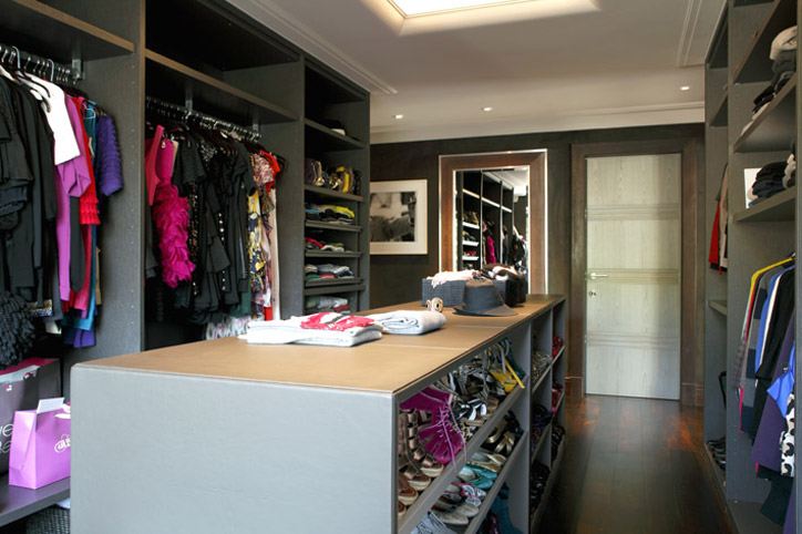 Gorgeous Gray Walk In Closet Design With Rustic Wood Plank Floors Island Built Ins Shelves And Wall Mirror