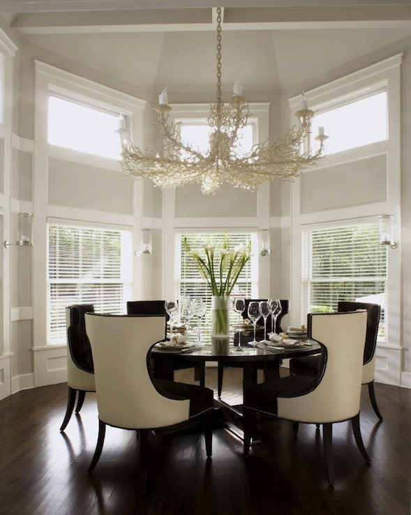 coral chandelier transitional dining room carlos miranda design