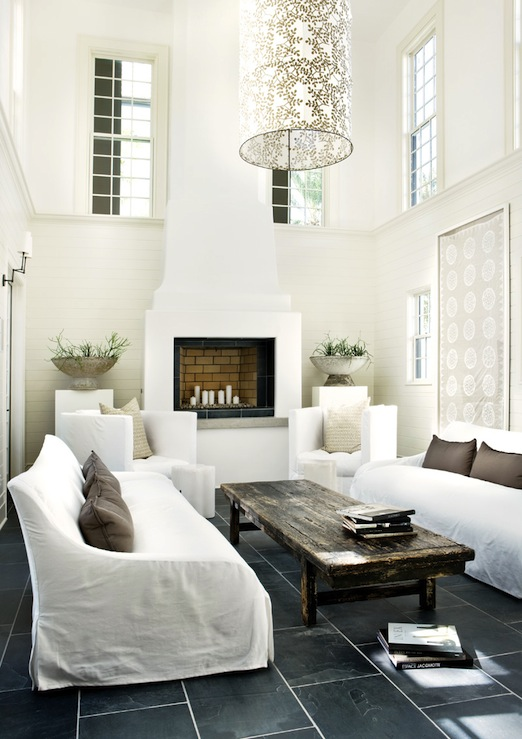 Two story living room design ideas Modern white living room decor
