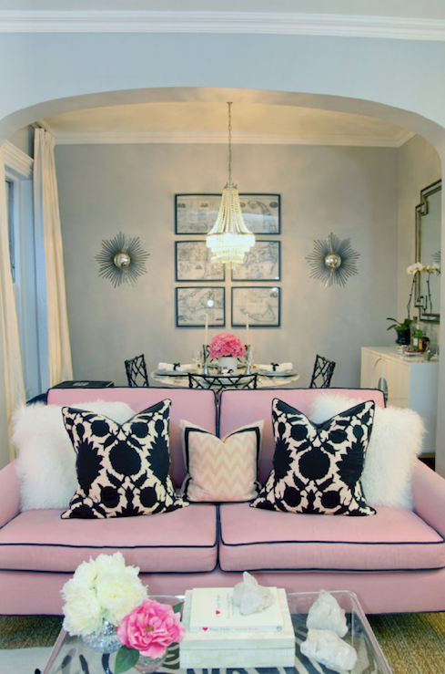 Pink sofa contemporary living room erin gates design for Hollywood glam living room ideas