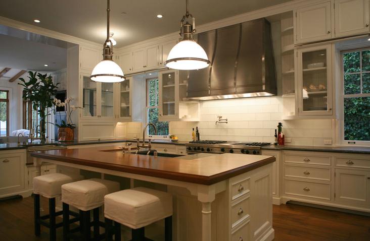 Slipcovered Bar Stools Transitional Kitchen