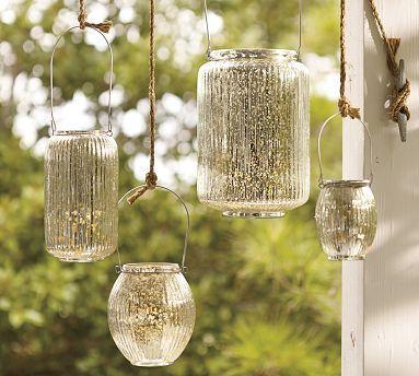 Paros mercury glass lanterns pottery barn for Jardin glass jars
