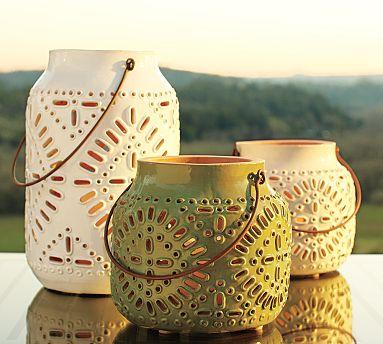 Punched Ceramic Lanterns Pottery Barn