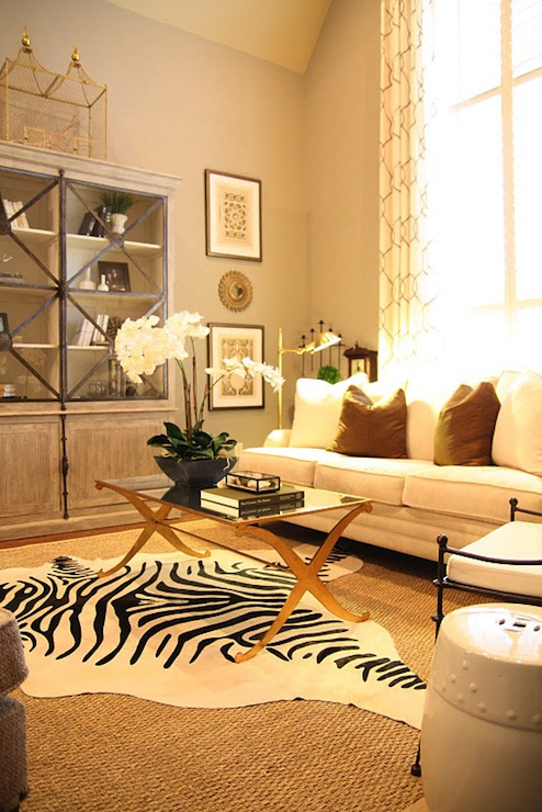 Brass coffee table transitional living room mythic for Living room ideas zebra