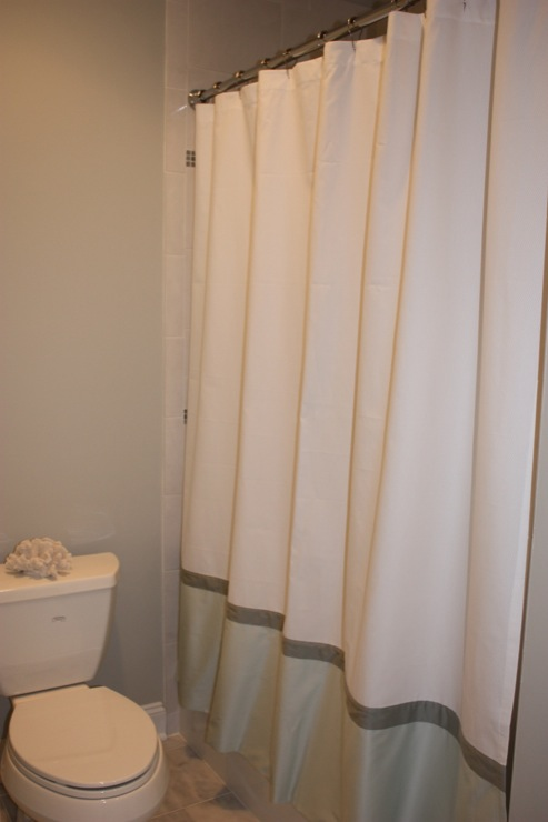 Two Tone Shower Curtain Transitional Bathroom