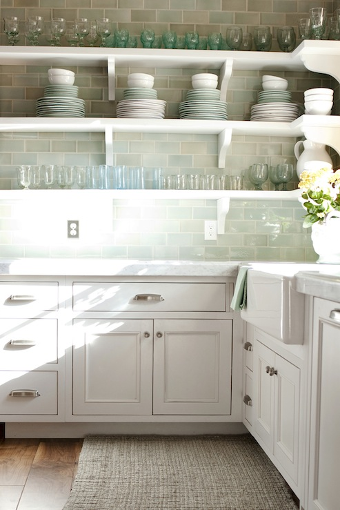 Green Subway Tile Backsplash Transitional Kitchen