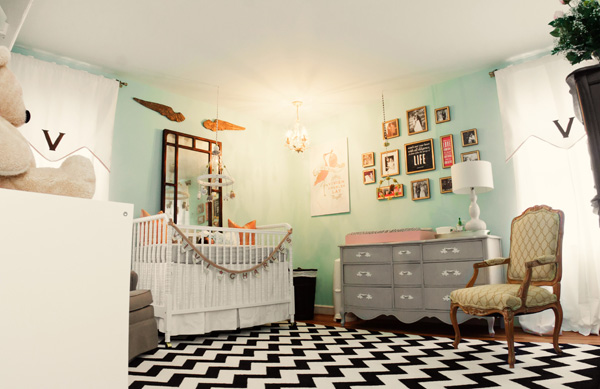 Black And White Chevron Rug Eclectic Nursery Lay