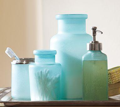 Blue Beach Glass Bath Accessories Pottery Barn