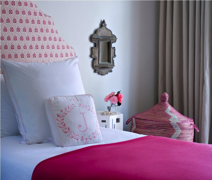 Chic Pink Girlu0027s Bedroom Design With Pink Headboard, Hot Pink Throw, White  Hotel Bedding With Pink Stitching, West African Pink Hamper Basket, ...
