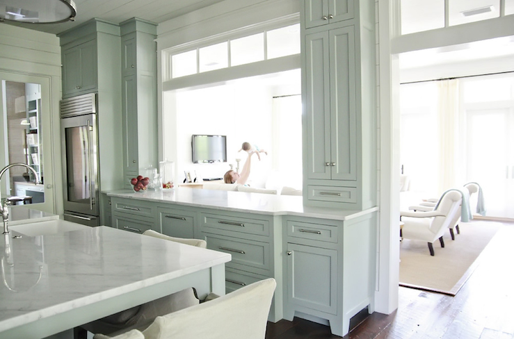 Gray blue cabinets cottage kitchen urban grace interiors for Blue gray kitchen cabinets