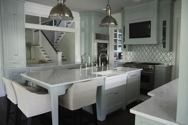 Double kitchen sinks transitional kitchen urban Kitchen island with sink and seating