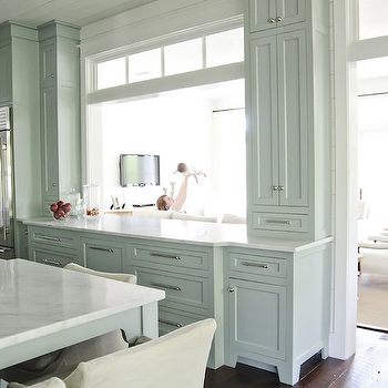 French Kitchen Pass Through With Taupe Maze Barstools