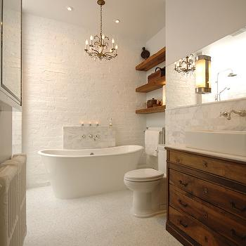 Brick Wall in Bathroom- Transitional, bathroom, Lake Jane