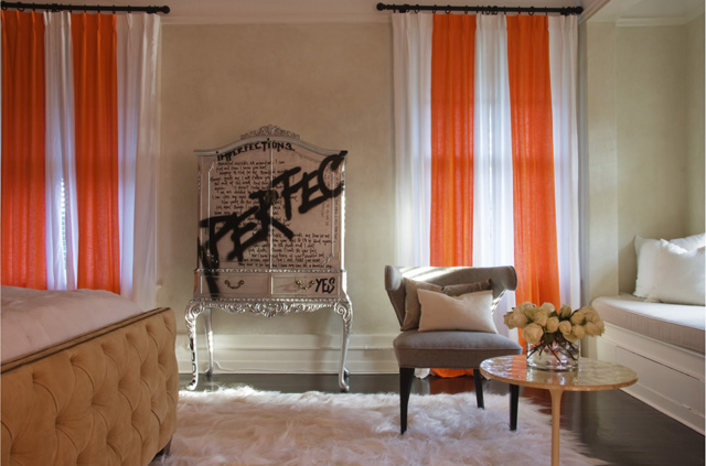 Funky Juxtaposition Of Styles   I Like It. Orange And White Curtains  Flanking French Armoire With Graffiti.