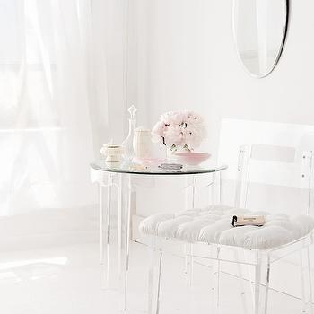 Lucite Chair, Contemporary, bathroom, Benjamin Moore Wedding Veil, Style at Home