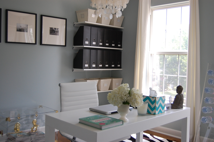 enchanting home office wall colors blue | Blue Gray Paint Colors - Contemporary - den/library/office ...