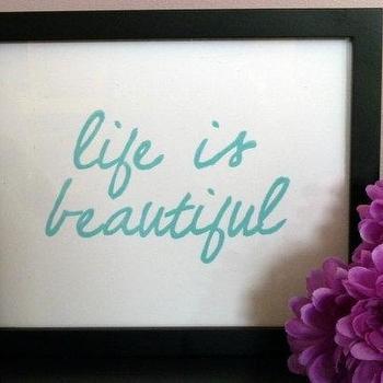 LIFE IS BEAUTIFUL Sky Blue Handcarved Linocut Print by inkstomp