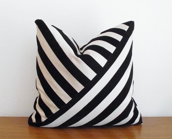 Pillow Cover Velvet Stripe Black Ebony by kassapanola