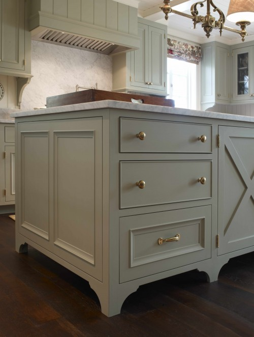 Gorgeous green gray kitchen cabinets & kitchen island, calcutta gold