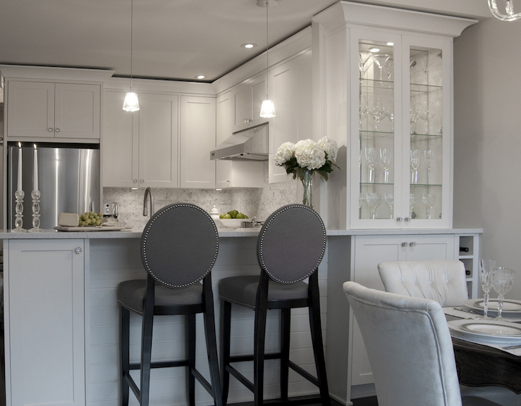 Gray Barstools Transitional Kitchen Deslaurier