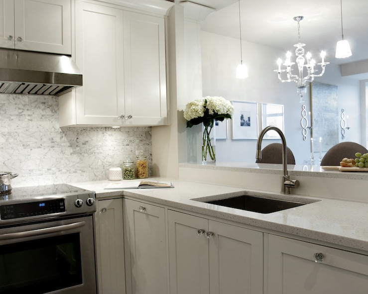 White Granite Countertops - Transitional - kitchen - Deslaurier Custom ...
