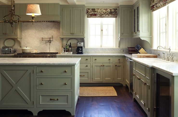Green gray cabinets traditional kitchen warmington for Grey green kitchen cabinets