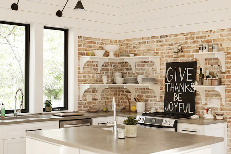 Exposed brick wall in kitchen contemporary kitchen for White exposed brick wall