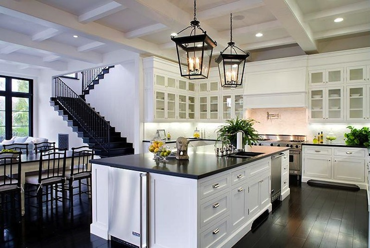 Black And White Kitchen Transitional Kitchen - Hanging lanterns for kitchen