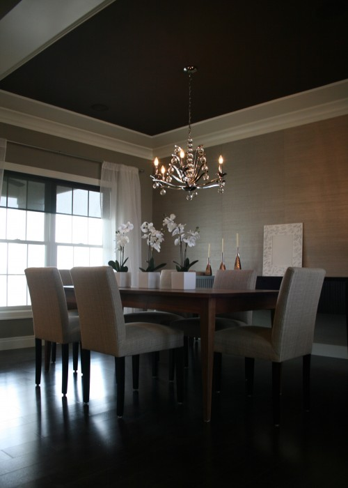 Platinum Gray Grasscloth Contemporary Dining Room