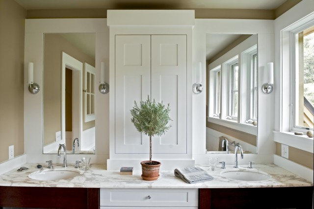 Beautiful Bathroom Design With Golden Tan Walls Paint Color, Cherry  Bathroom Cabinets, Calcutta Marble Counter Tops, Double Sinks, Polished  Nickel Faucets ...