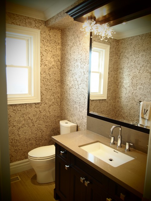 Flocked Wallpaper Traditional Bathroom Biglarkinyan
