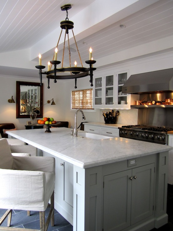 beadboard ceiling, white shaker kitchen cabinets, gray kitchen island