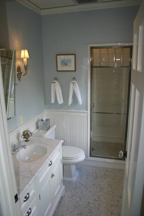 bathroom design with blue walls paint color chair rail with beadboard