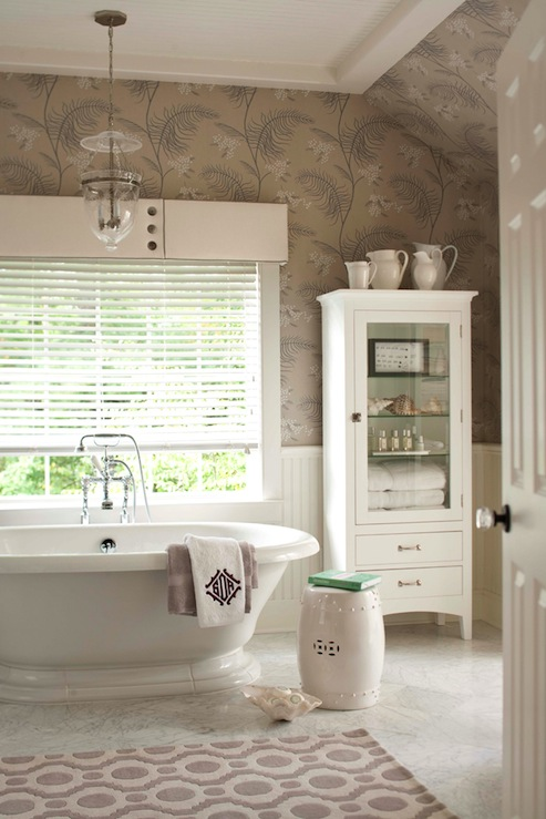 Pottery Barn Bathroom Cabinets glass front linen cabinet - transitional - bathroom - muse interiors