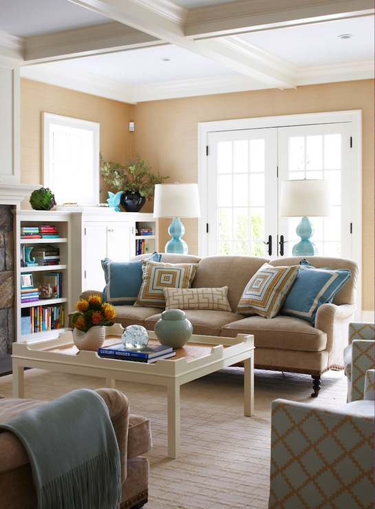 Brown And Blue Living Room light brown sofas with blue built in bookcases  contemporary