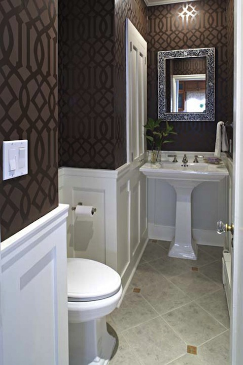 Imperial Trellis Wallpaper Transitional Bathroom Graciela Rutkowski Interiors