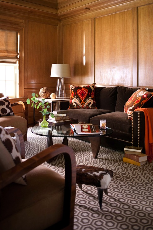 Chocolate Brown Velvet Sofa With Nailhead Trim Wood Paneling Orange