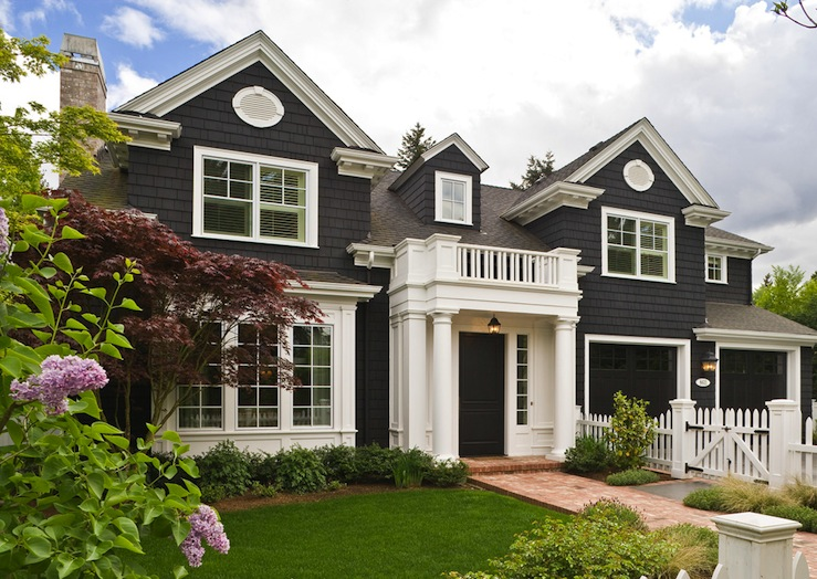 Gray stone home exterior transitional home exterior - Beautiful front designs of homes ...