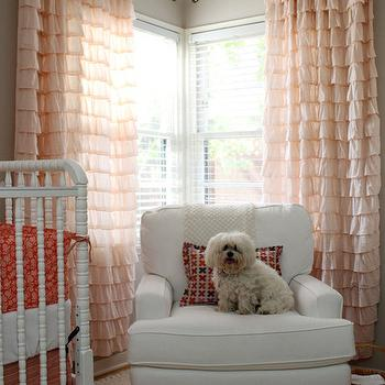 pink ruffled curtains - traditional - nursery - behr pecan sandie