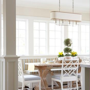 Striped Banquette, Cottage, dining room, Muse Interiors