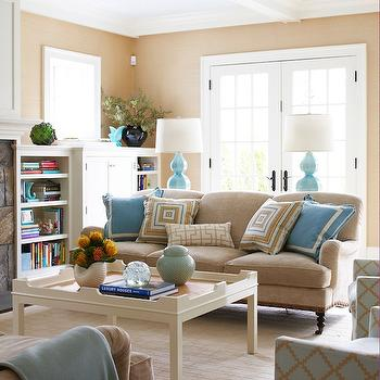 Brown and Turquoise Living Room, Contemporary, living room, Muse Interiors