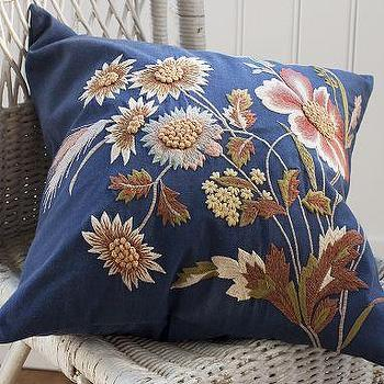 Blue Floral Embroidered Pillow Cover, Pottery Barn