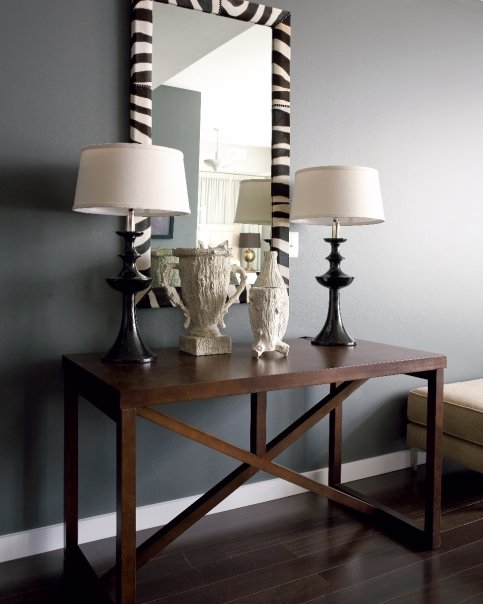 Zebra mirror contemporary entrance foyer beth haley for Foyer console table and mirror set