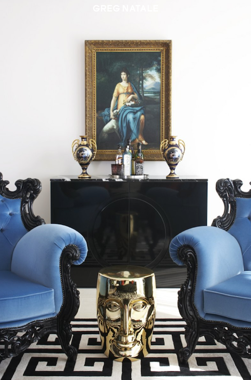 Blue Velvet Chair Eclectic Living Room Greg Natale